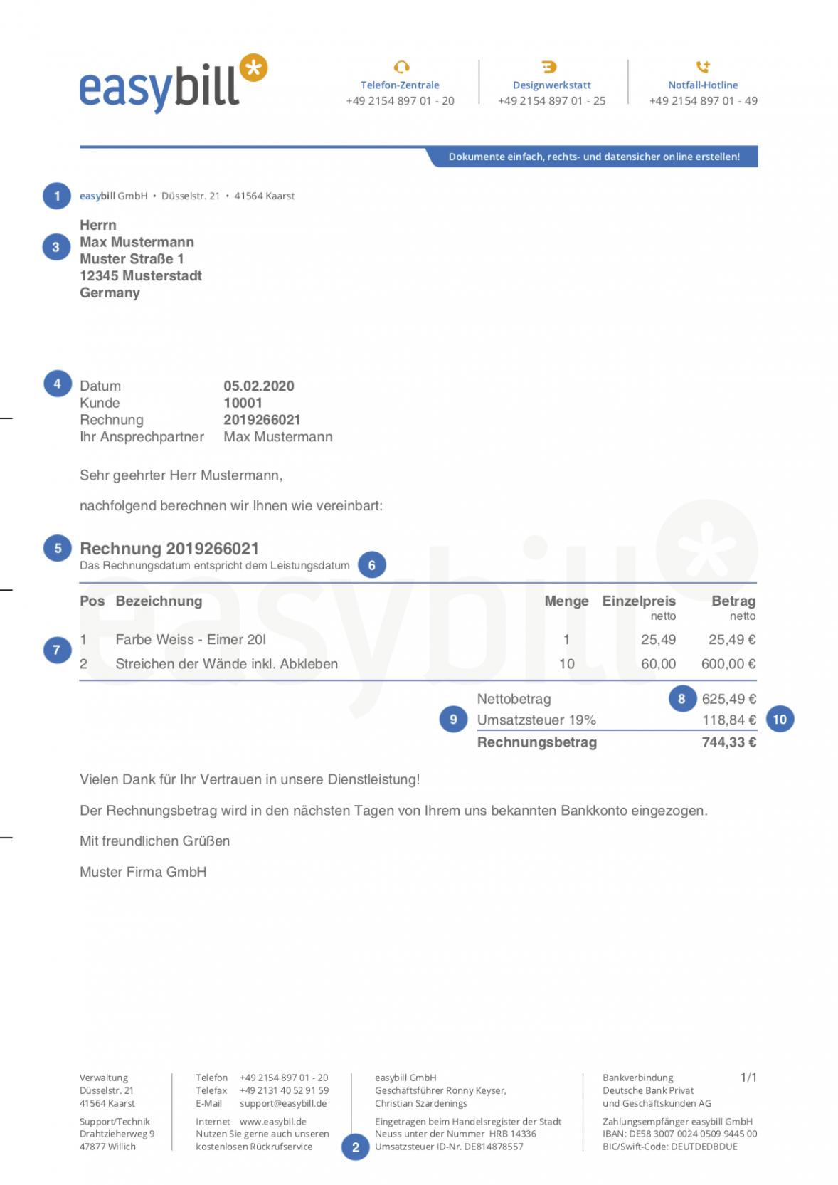 bearbeitbar von die 10 bestandteile einer rechnung rechnungsvorlage kleingewerbe ohne umsatzsteuer