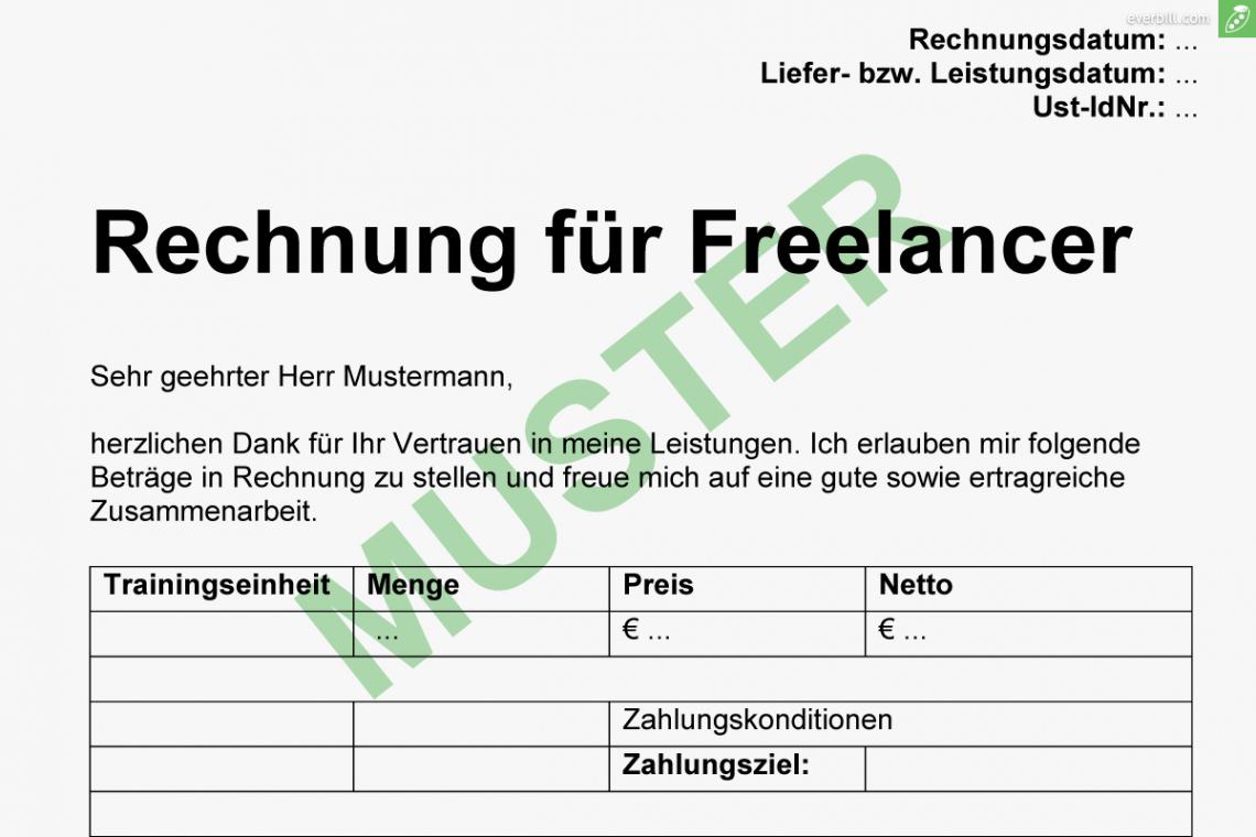 bearbeitbar von → gratis musterrechnung für freiberufler 2017  everbill rechnung nebentätigkeit vorlage excel