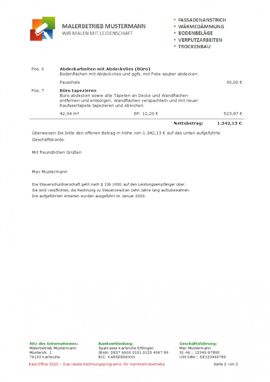 bearbeitbar von muster einer subunternehmerrechnung vorlage rechnung nach § 13b doc
