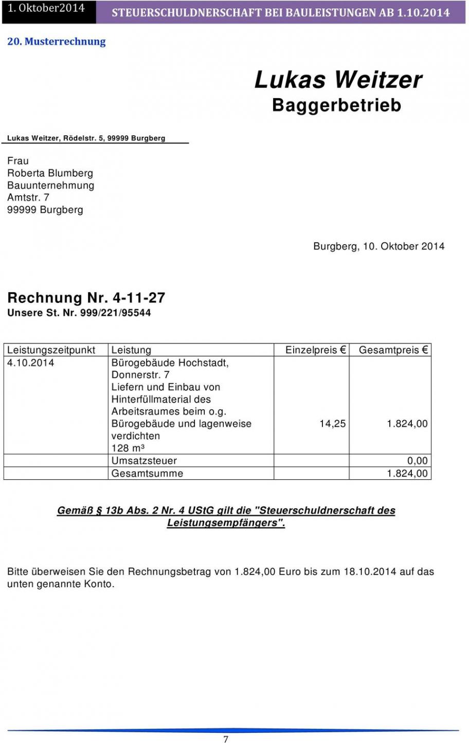 bearbeitbar von steuerschuldnerschaft 13b ustg bei bauleistungen  pdf vorlage rechnung nach § 13b excel