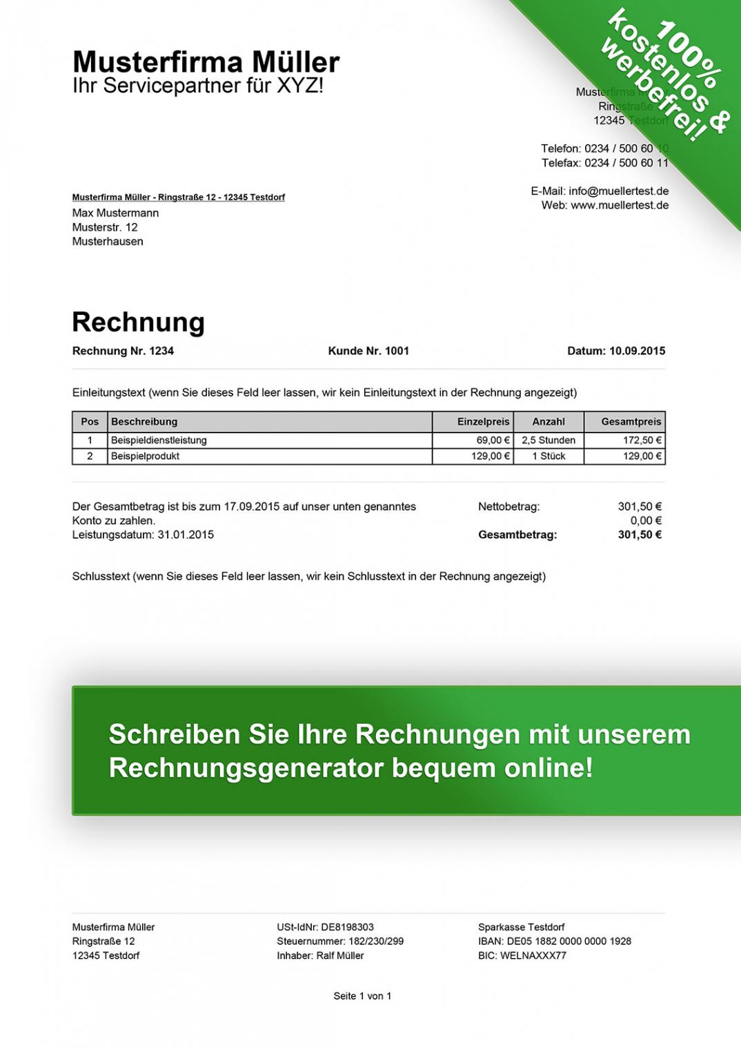 das beispiel von rechnungsvorlagen kostenlos  rechnungsvorlage für jeden zweck gewerbe rechnung vorlage pdf