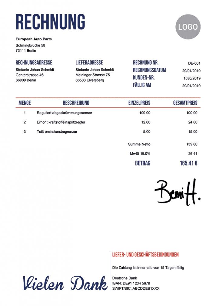 das sample von gratis rechnungsvorlage  100 verschiedene pdf zum verschicken rechnungsvorlage zum ausfüllen kostenlos