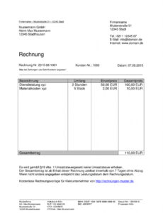das sample von kleinunternehmer rechnung  rechnungsvorlagen für rechnung mit steuernummer vorlage word