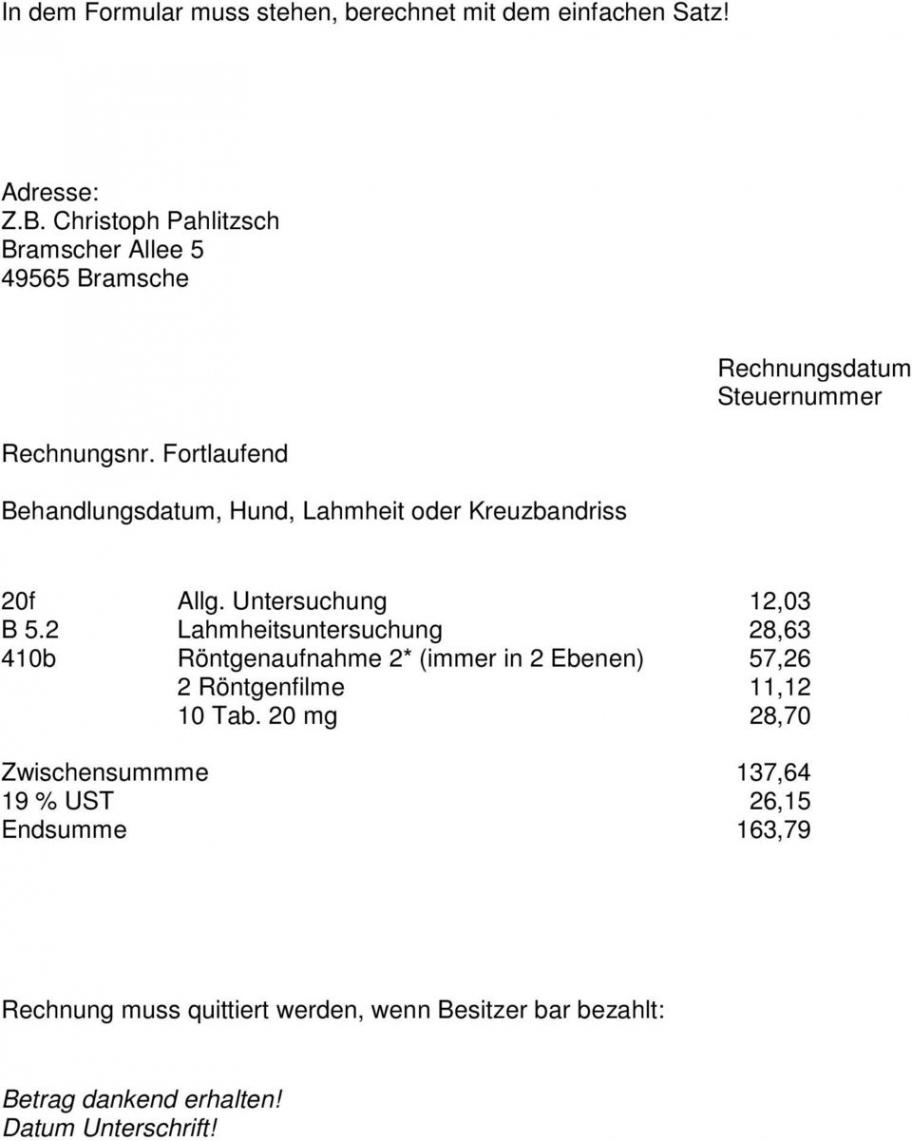 das sample von übungen i und ii fall 1 beginn ende  pdf free download tierarzt rechnung vorlage