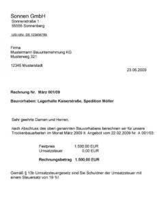 druckbar von bauleistungen i s d 13b ustg  pdf kostenfreier download vorlage rechnung nach § 13b excel