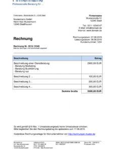 druckbar von kleinunternehmer rechnung  rechnungsvorlagen für gewerbe rechnung vorlage word