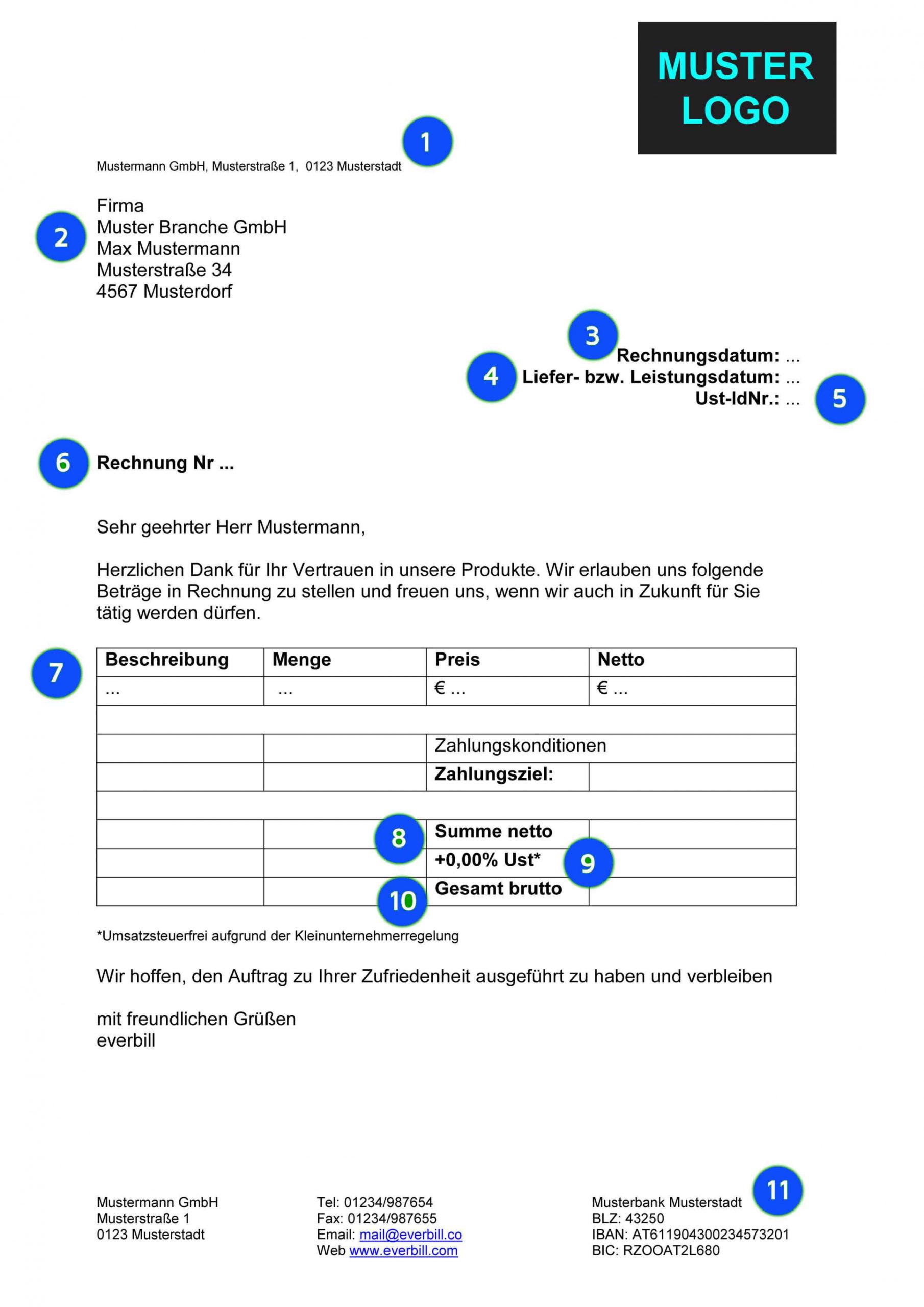 eine probe von 10 rechnung handwerker muster  exeterca rechnungsvorlage handwerker pdf