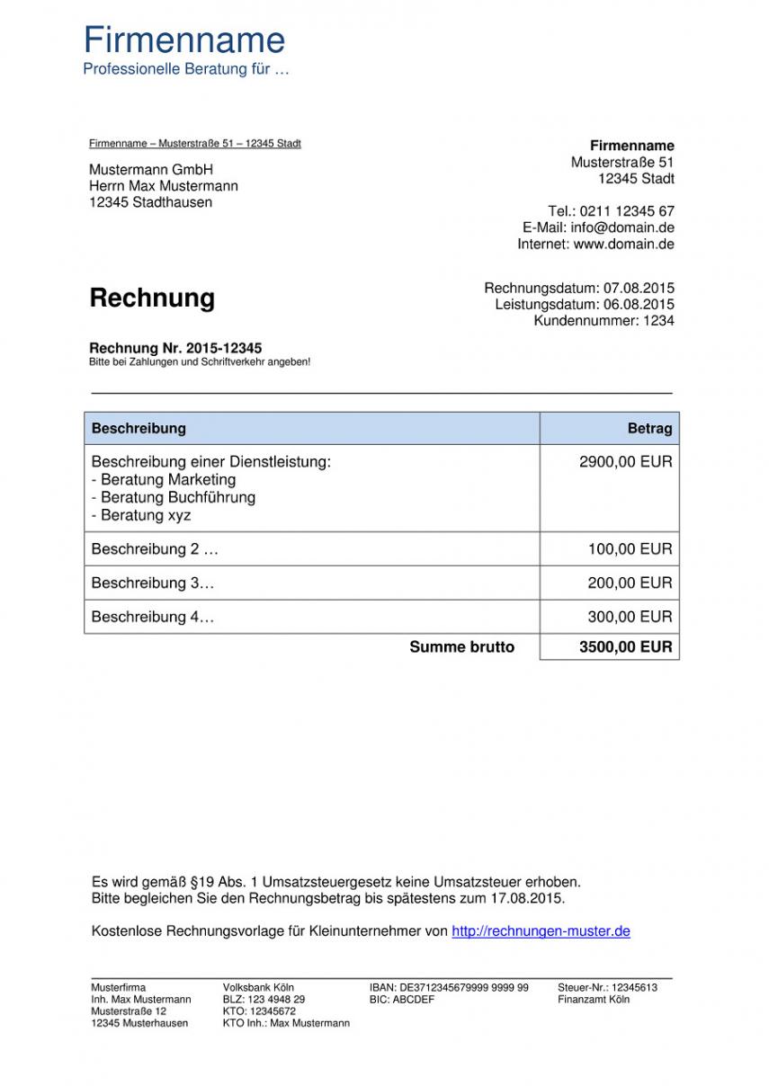 eine probe von kleinunternehmer rechnung  rechnungsvorlagen für rechnungsvorlage kleingewerbe ohne umsatzsteuer