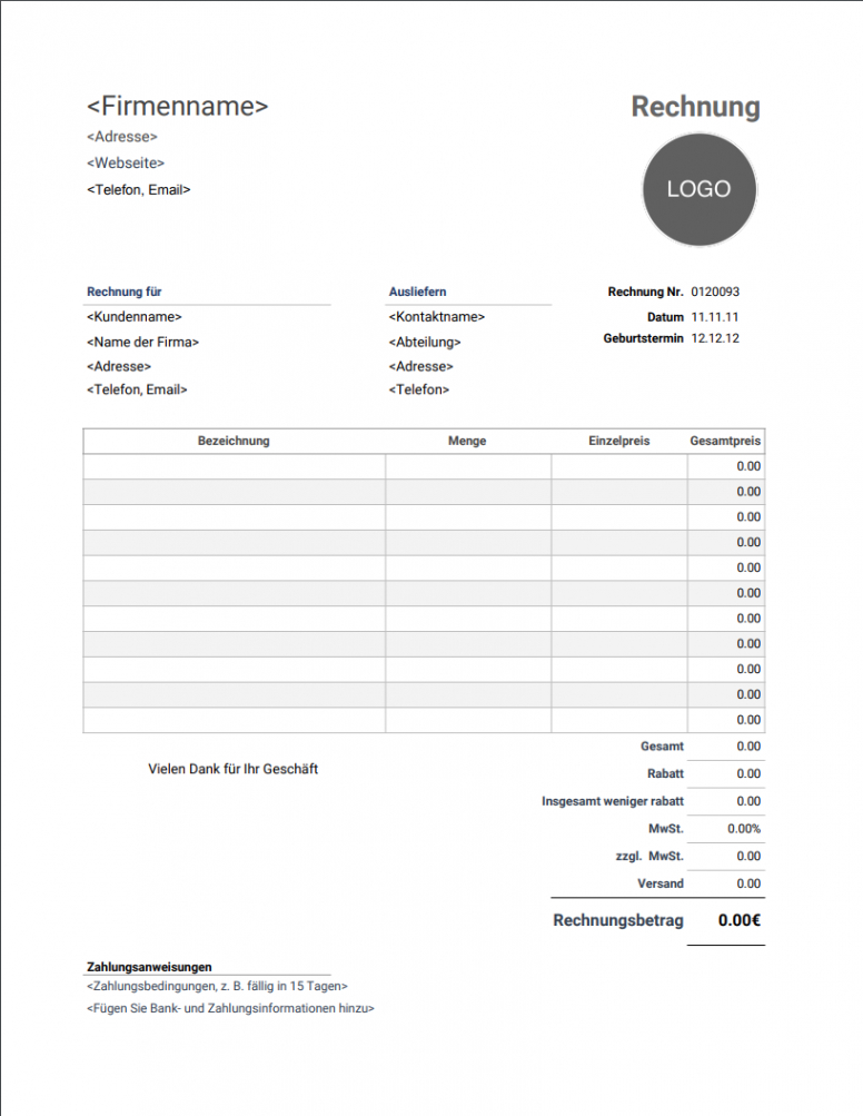 eine probe von rechnungsvorlage für freiberufler  kostenfreier download rechnungsvorlage freiberufler doc
