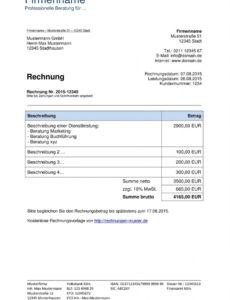 eine probe von rechnungsvorlagen kostenlos  rechnungsvorlage für jeden zweck musiker rechnung vorlage excel