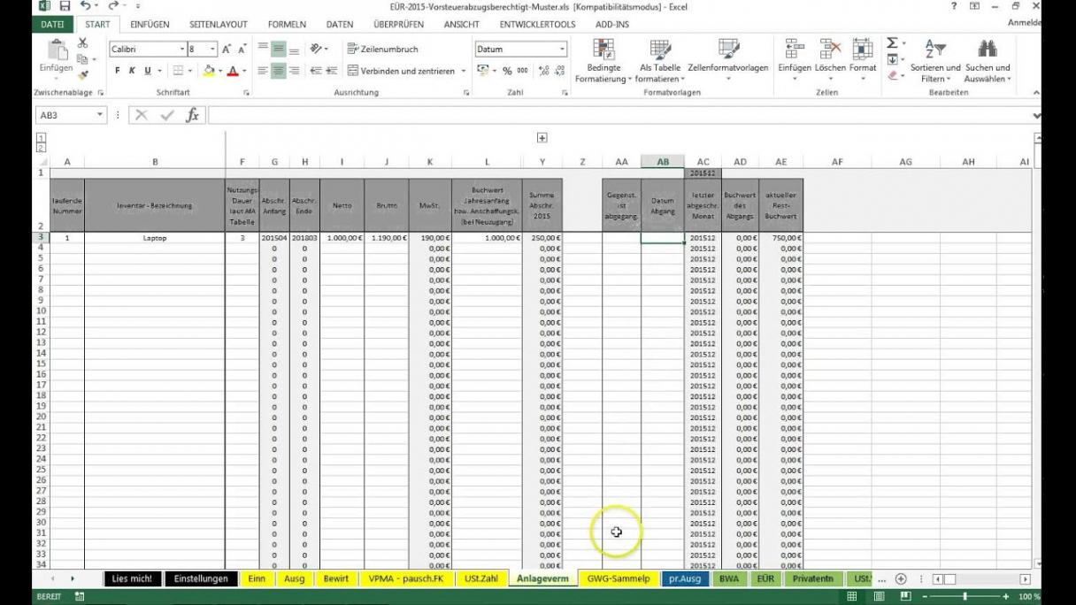 bearbeitbar von einführung excelvorlageeinnahmenüberschussrechnung eür einnahmen überschuss rechnung kleinunternehmer vorlage doc