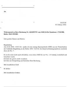 bearbeitbar von widerspruch zu ihrer rechnung nr vom für kundennr  rufnr widerspruch vodafone rechnung vorlage pdf