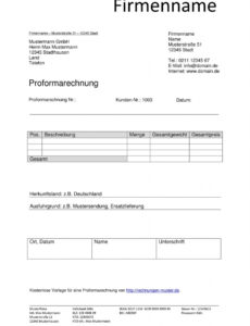 das beispiel von proforma rechnung  vorlagen & muster  proformarechnung proforma rechnung englisch vorlage pdf