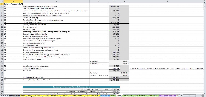 das sample von excelvorlageeinnahmenüberschussrechnung eür 2014 einnahme überschuss rechnung vorlage kleinunternehmer word