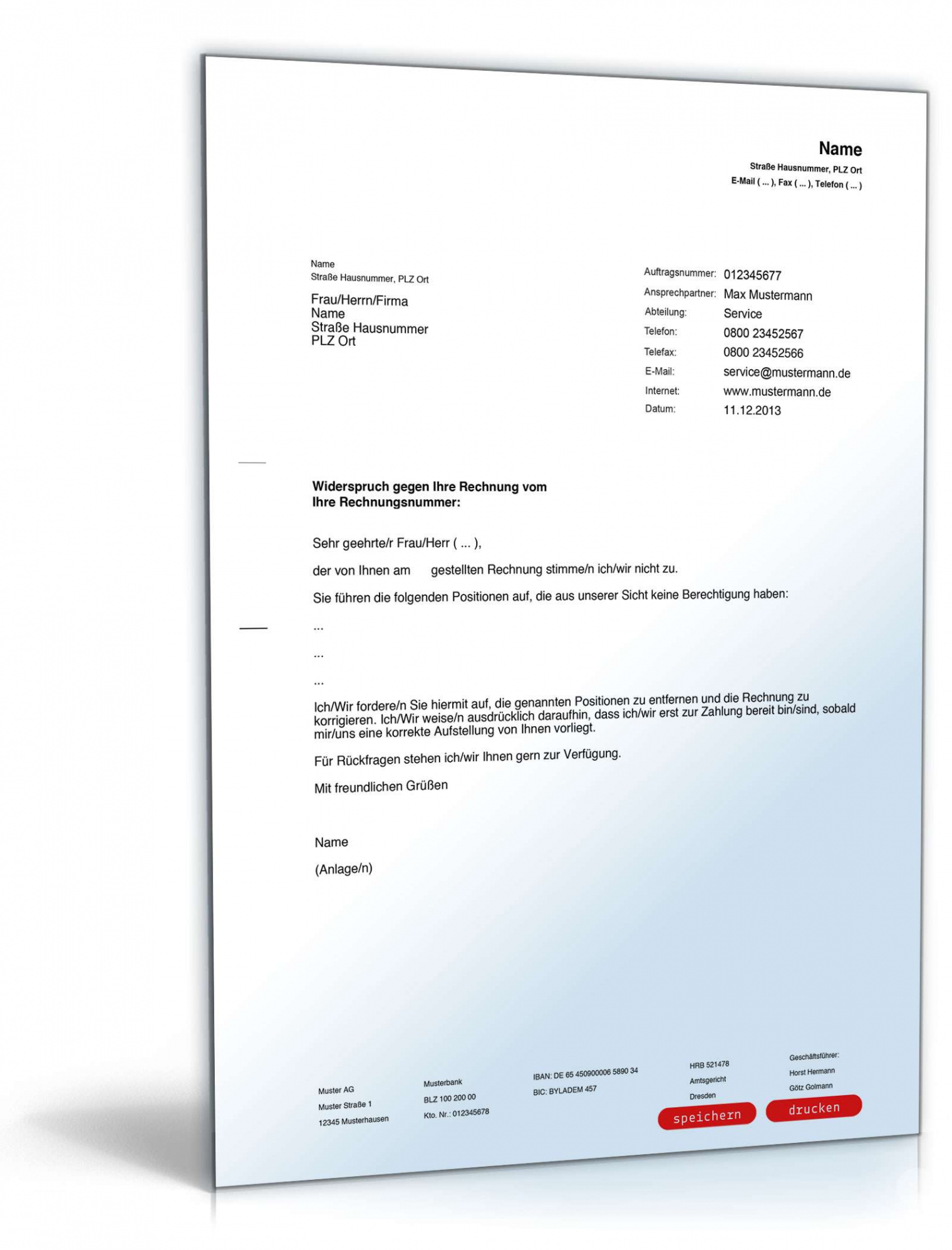 druckbar von falsche rechnung widerspruch vorlage widerspruch einer widerspruch vodafone rechnung vorlage pdf