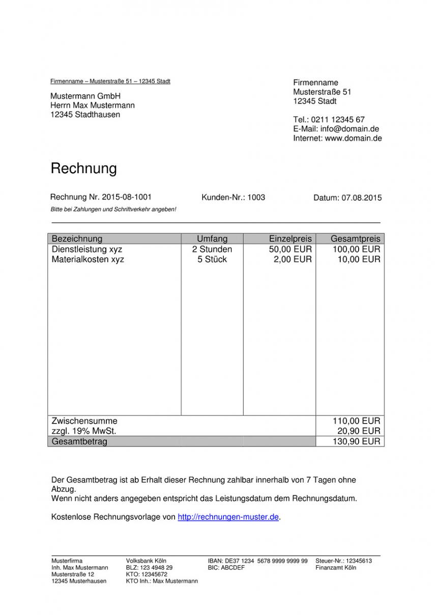 eine probe von rechnungsvorlagen kostenlos  rechnungsvorlage für jeden zweck rechnung richtig schreiben vorlage