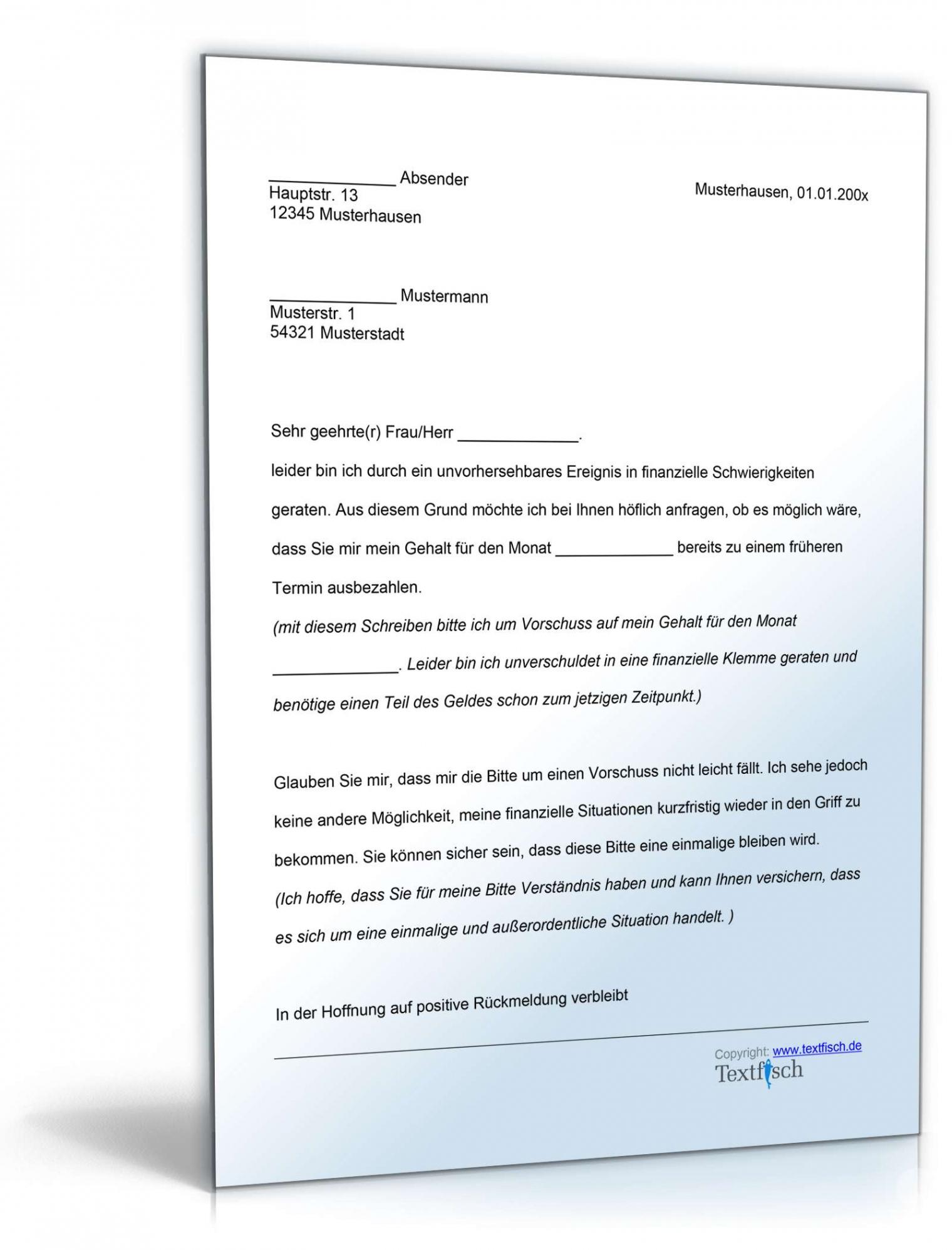 bearbeitbar von bitte um vorschuss  vorlage zum download vereinbarung über einen vorschuss pdf