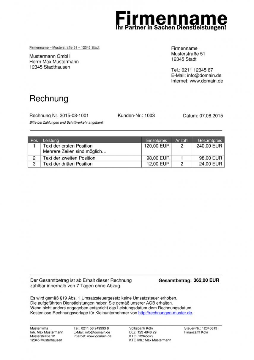 bearbeitbar von kleinunternehmer rechnung  rechnungsvorlagen für kleingewerbe rechnung ohne mwst vorlage doc
