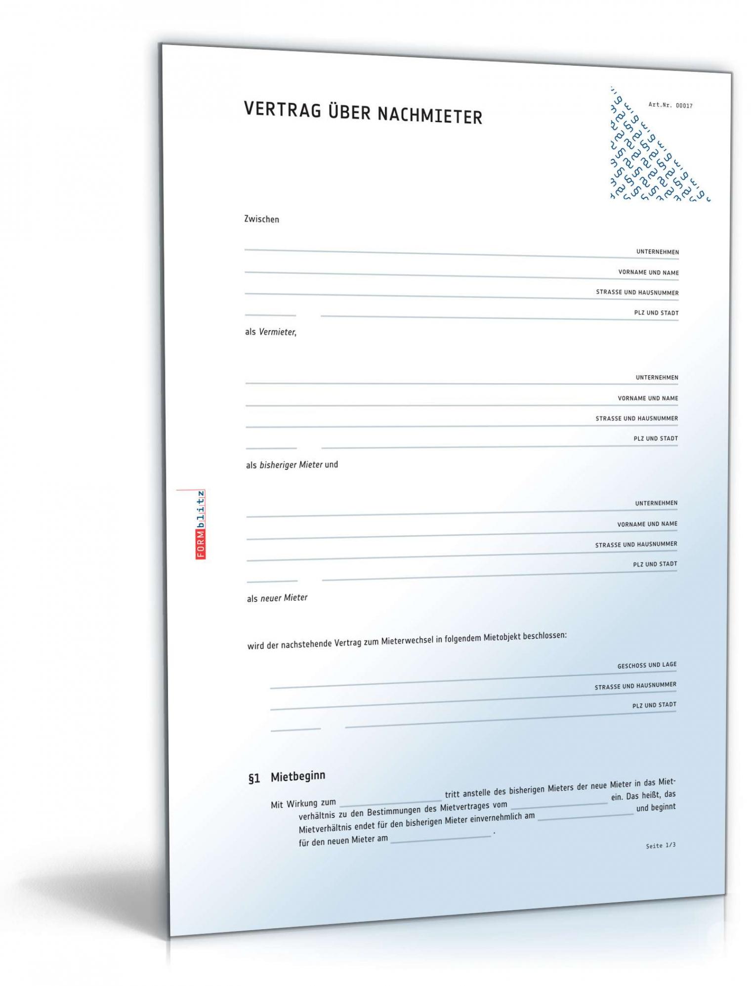 bearbeitbar von nachmietervertrag zur wohnungsübernahme muster zum download vereinbarung vormieter nachmieter doc