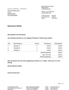 bearbeitbar von pages vorlage rechnung  numbersvorlagende rechnung din 5008 vorlage doc