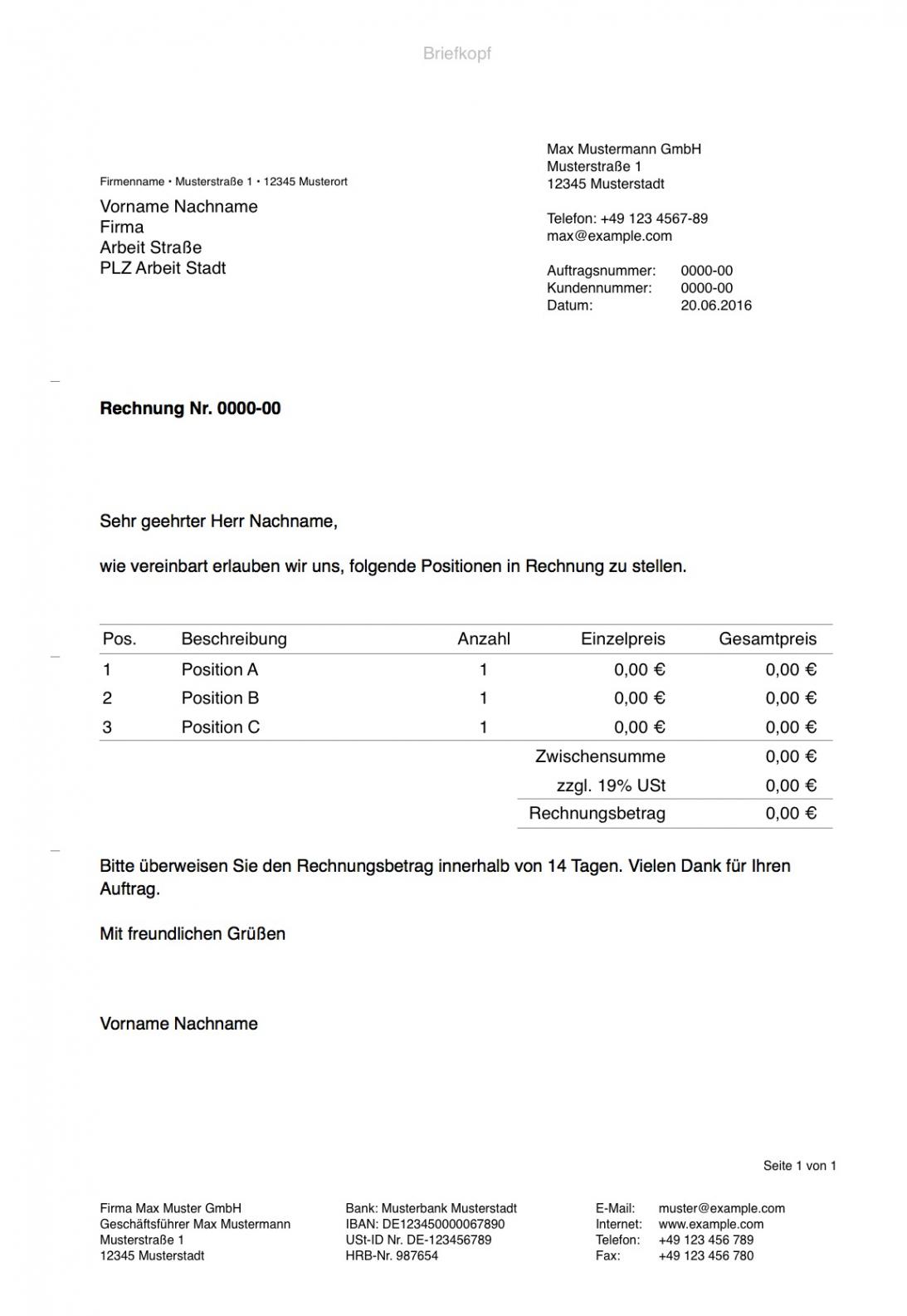 bearbeitbar von pages vorlage rechnung  numbersvorlagende vorlage einer rechnung doc
