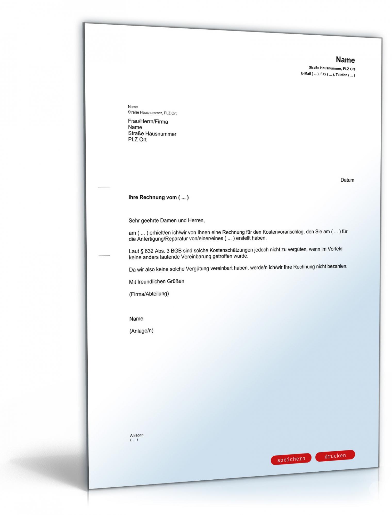 bearbeitbar von zurückweisung rechnung kostenvoranschlag  muster zum download widerspruch rechnung vorlage