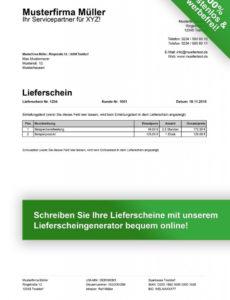 das sample von lieferschein vorlage kostenlos herunterladen lieferschein rechnung vorlage pdf