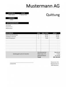 das sample von quittung vorlage schweiz  gratis download im word & excel rechnung quittung vorlage doc