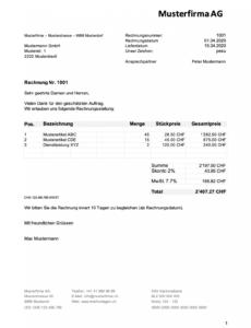 das sample von rechnungsvorlage schweiz im word & excelformat kostenlos rechnung mit mwst vorlage pdf