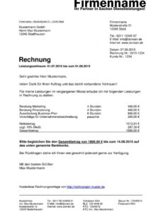 das sample von rechnungsvorlagen kostenlos  rechnungsvorlage für jeden zweck rechnung mit mwst vorlage pdf
