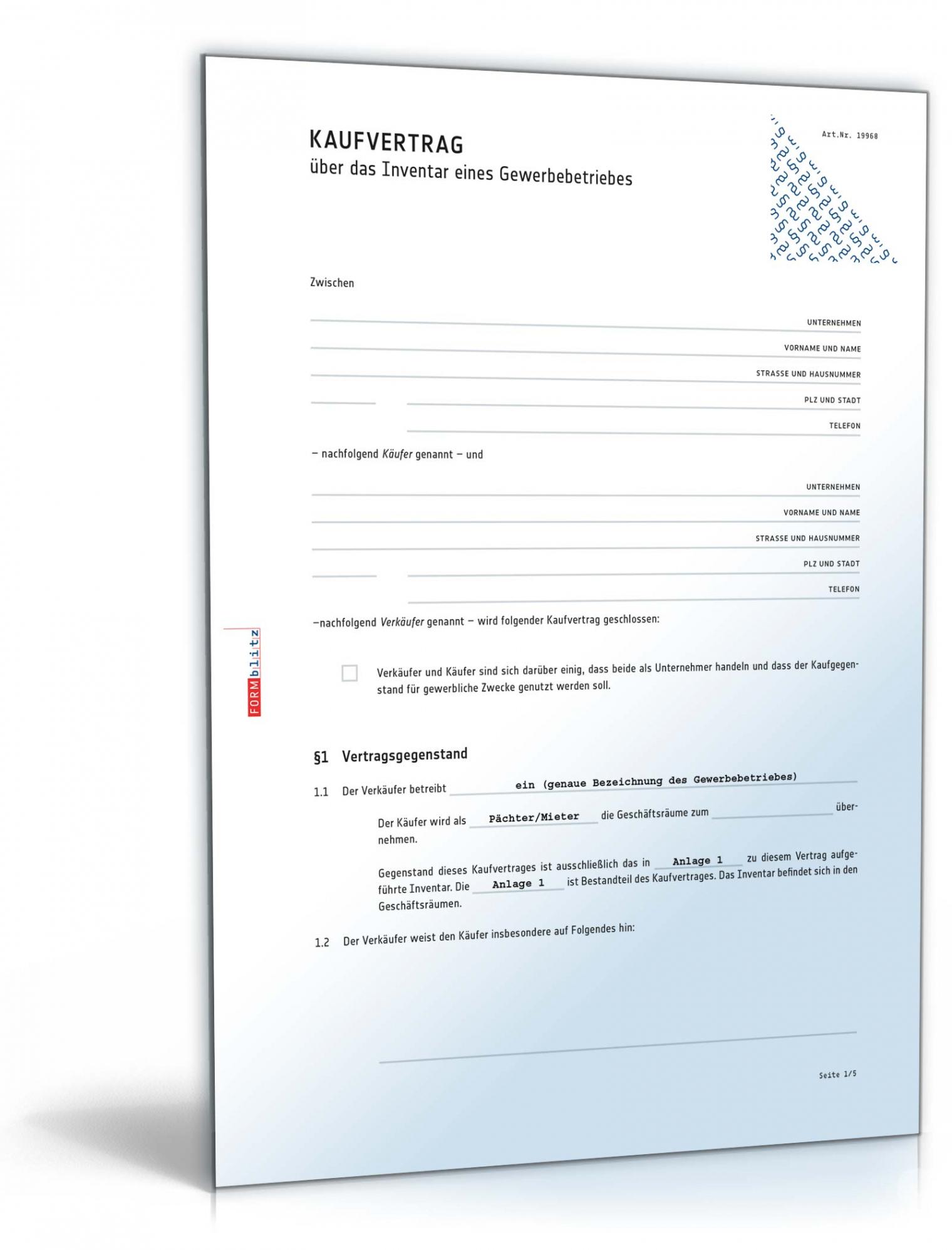 druckbar von kaufvertrag inventar gewerbebetrieb  muster zum download vereinbarung vormieter nachmieter pdf