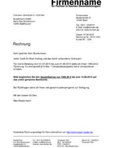 druckbar von kleinunternehmer rechnung  rechnungsvorlagen für kleingewerbe rechnung ohne mwst vorlage pdf