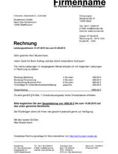 druckbar von kleinunternehmer rechnung  rechnungsvorlagen für rechnung hausmeisterservice vorlage pdf