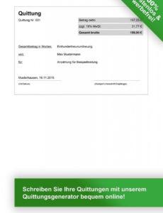 druckbar von quittungsvorlage kostenlos herunterladen  vorlage quittung rechnung quittung vorlage word