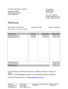 eine probe von rechnungsvorlagen kostenlos  rechnungsvorlage für jeden zweck rechnung schreiben student vorlage doc