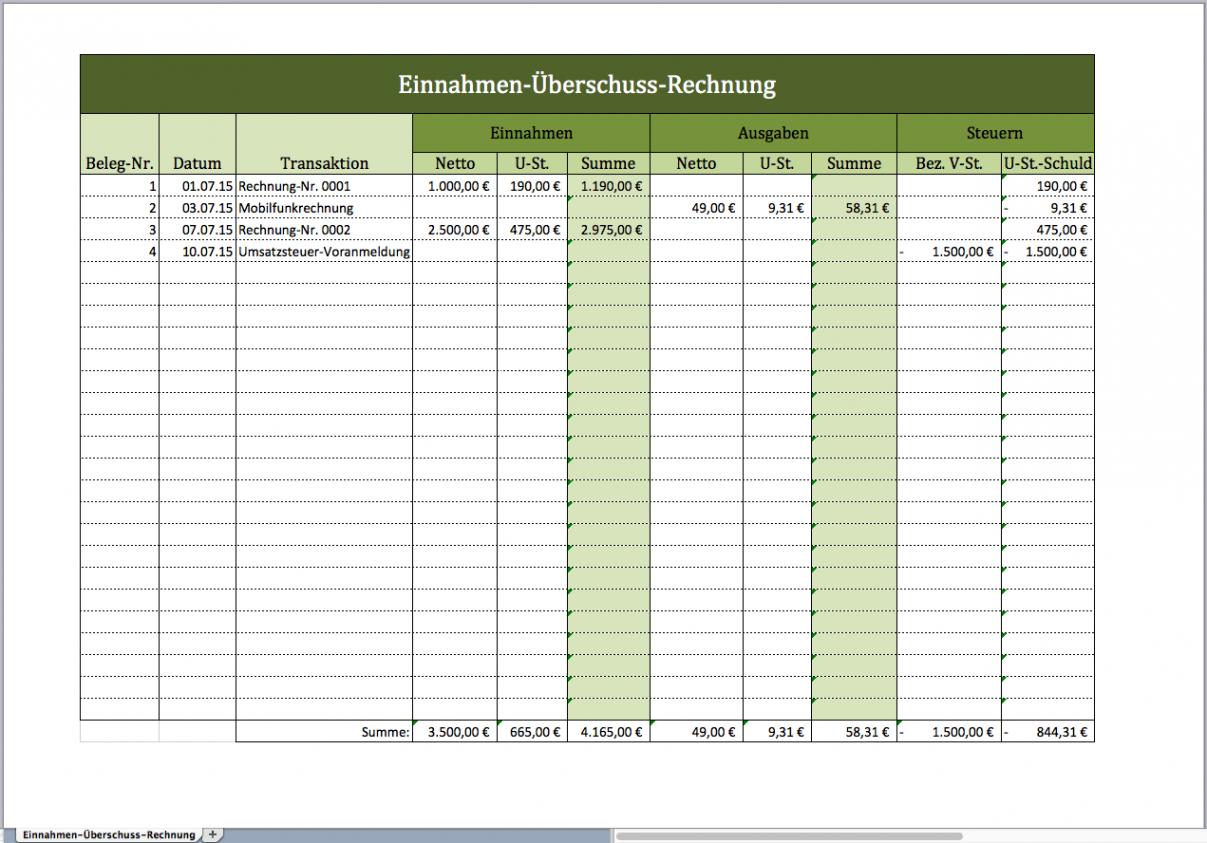 bearbeitbar von einnahmenüberschussrechnung als excelvorlage vorlage einnahmen überschuss rechnung word