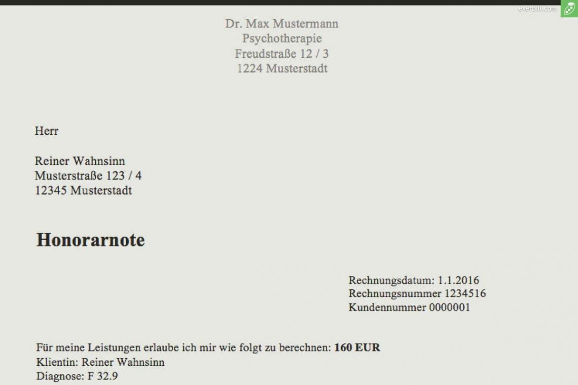 bearbeitbar von musterrechnung psychotherapeut  kostenlose honorarnoten krankenkasse rechnung einreichen vorlage pdf