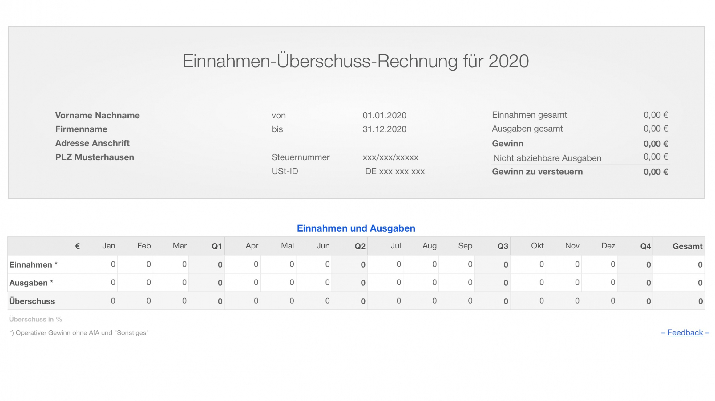 bearbeitbar von numbers vorlage einnahmenüberschussrechnung 2020 ohne ust vorlage einnahmen überschuss rechnung pdf