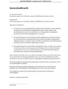 Beispiel General Und Vorsorgevollmacht Vorlage PDF Bearbeitbar