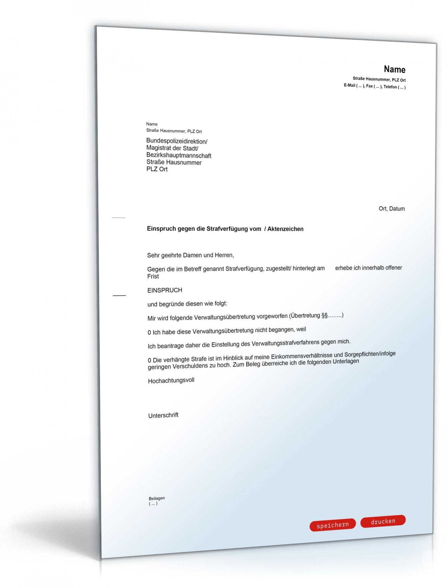 Beste Einspruch Einlegen Vorlage PDF Druckfähig