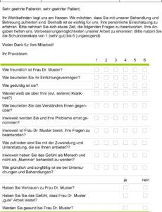 Beste Kundenzufriedenheit Fragebogen Vorlage PDF