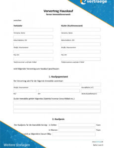 Bild Vorvertrag Wohnungskauf Vorlage Excel