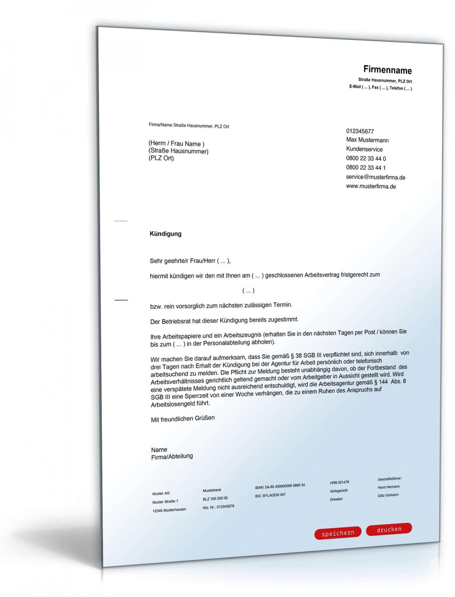 Kündigung Arbeitsvertrag Arbeitgeber Vorlage PDF Bearbeitbar