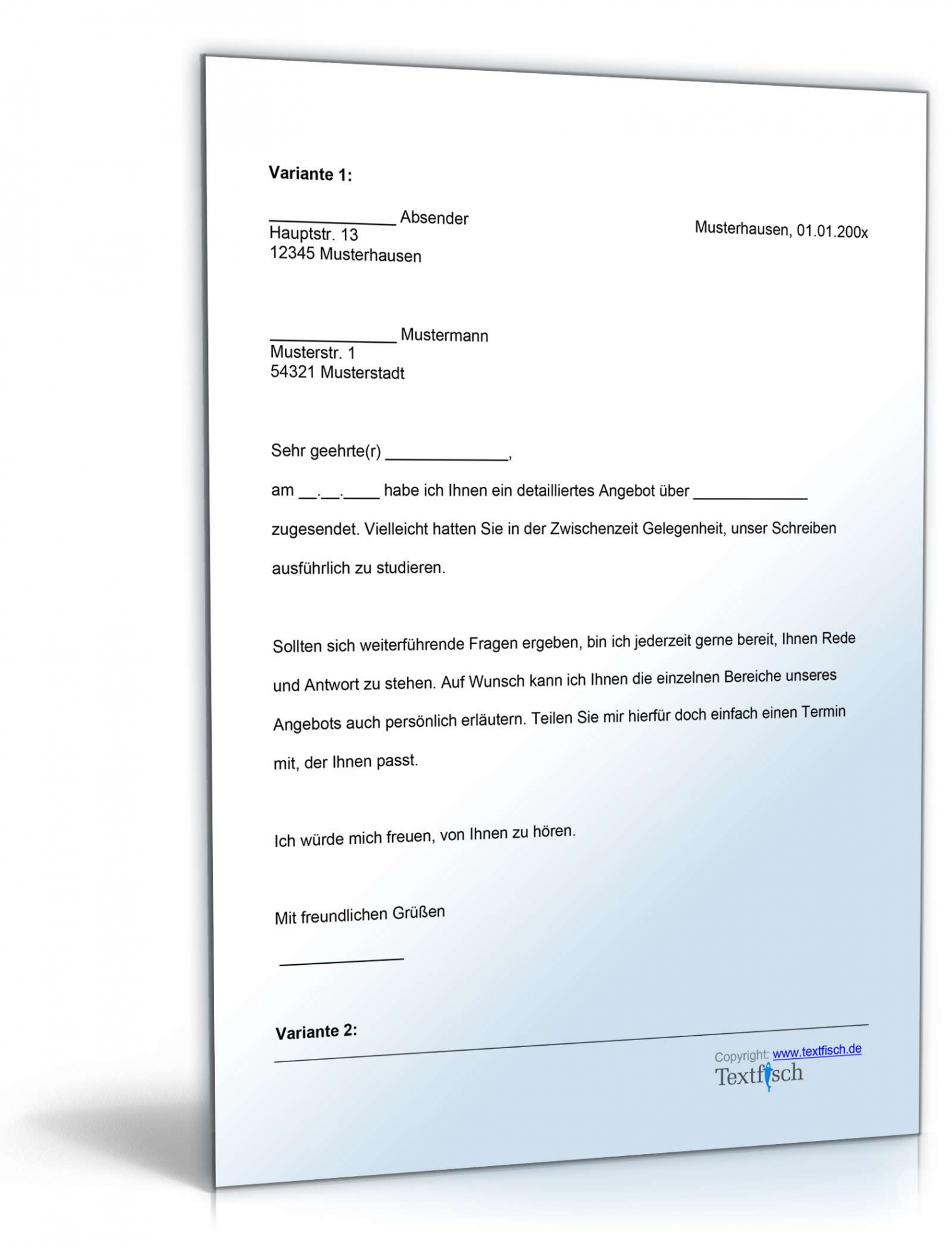Sampler Anschreiben Angebot Vorlage Excel