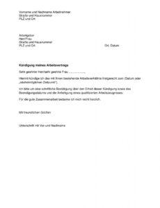 Sampler Kündigung Arbeitsvertrag Arbeitgeber Vorlage Word Kostenlos