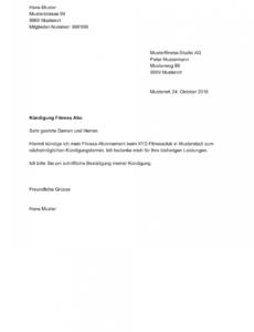 Sampler Kündigung Vertrag Fitnessstudio Vorlage  Druckfähig