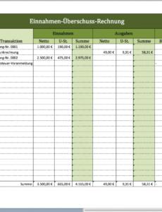 Sampler Vorlage Einnahmenüberschussrechnung Kleinunternehmer PDF Kostenlos