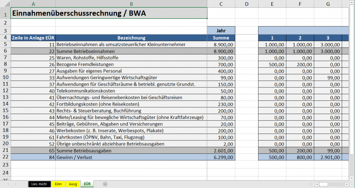Sampler Vorlage Einnahmenüberschussrechnung Kleinunternehmer Word Bearbeitbar