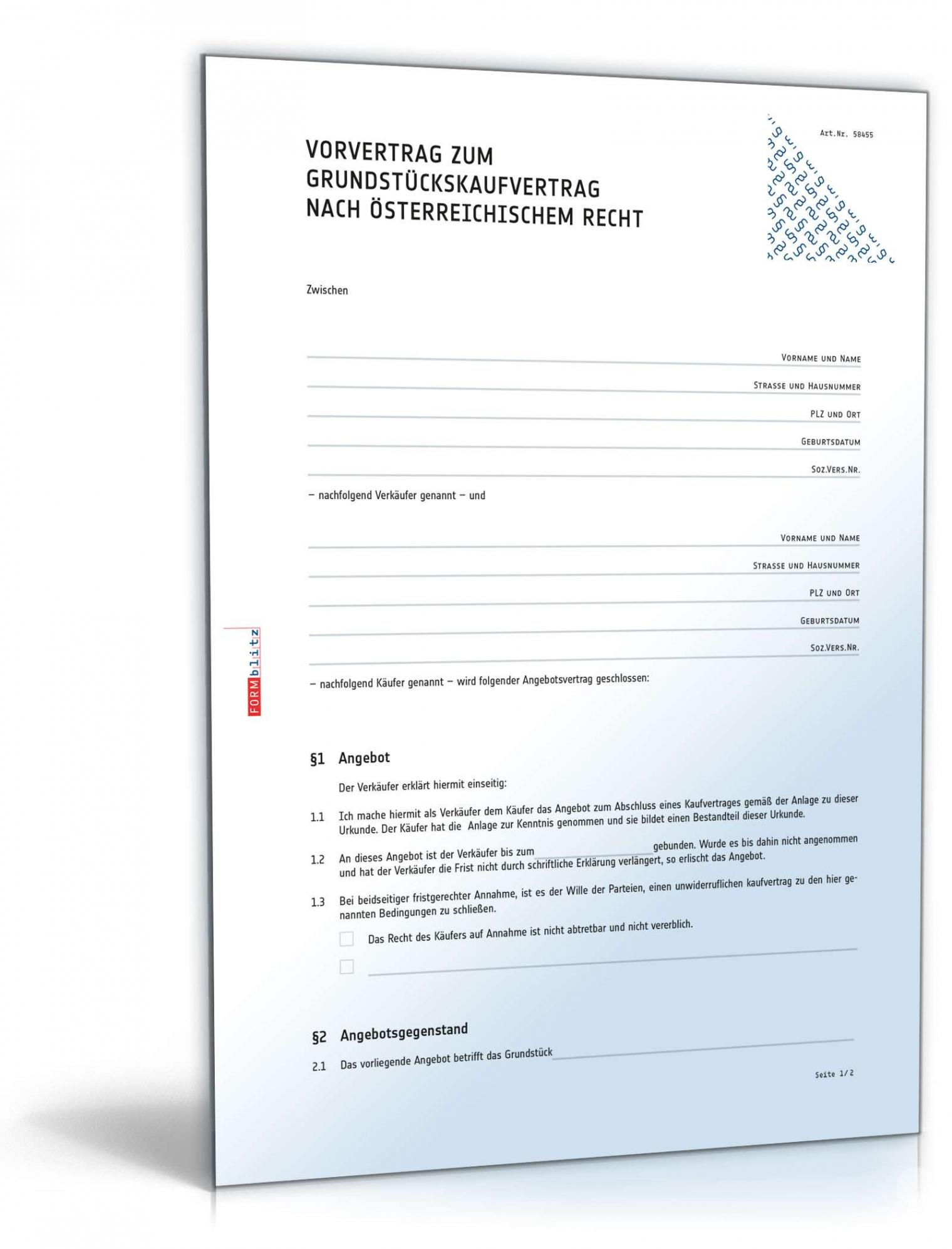 Sampler Vorvertrag Wohnungskauf Vorlage  Bearbeitbar