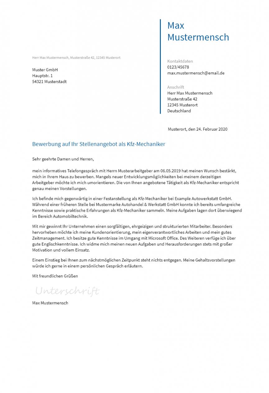 Beispiel Bewerbungsschreiben Vorlage Kfz Mechaniker PDF Kostenlos
